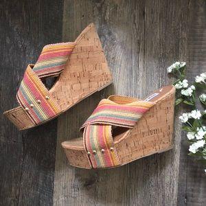 Steve Madden | Pride Striped Cork Wedge Sandals